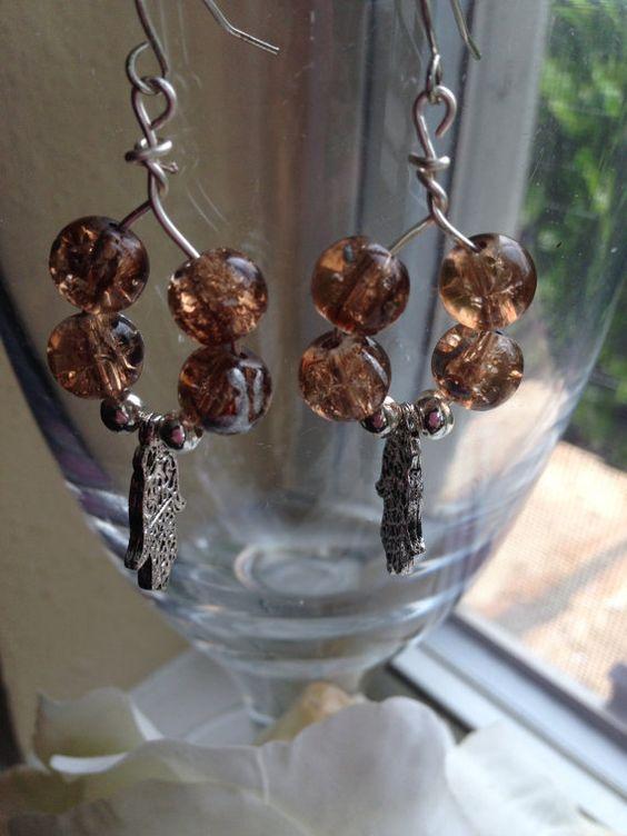 Beautiful Filigree Silver Hamsa Hoop Drop Earrings by goldenhandscreations, $15.00