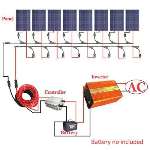 800w Solar Panel Kit 8 100w Solar Panel W 3kw Inverter 12v Battery Off Gridsystem Solar System Kit Solar Panel Kits Solar Heating
