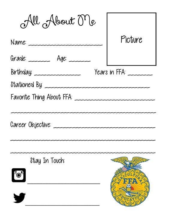 All About Me sheet for FFA Officers to put in classrooms, bulletin - order sheet template
