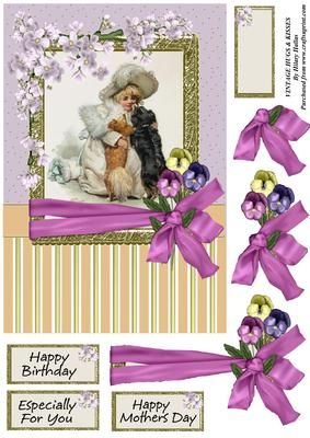 Vintage Hugs Kisses on Craftsuprint designed by Hilary Hallas - An A4 card front with decoupage layers and choice of sentiments featuring a lovely vintage painting of a little girl with two dogs with lilac flower decoration. Co-ordinating insert available separately. - Now available for download!