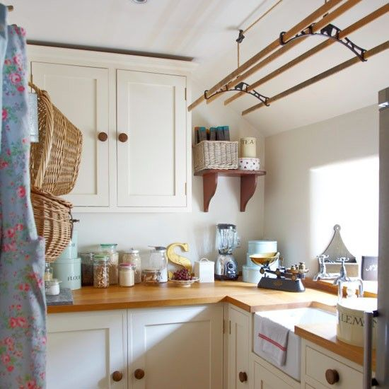 Interesting Rack on the ceiling.  At first I thought it was a pot rack, but, it is likely for Laundry since it is a Utility room