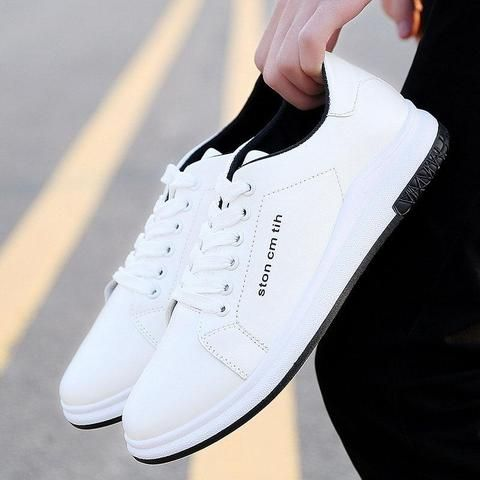 Mens Fashion Lace Up PU Shoes Casual Walking Running Sneakers Low Top Flat Shoes