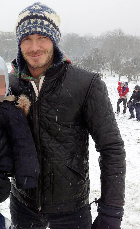 David Beckham poses with fans in the snow in London