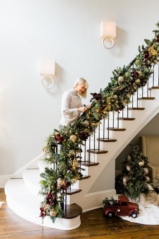Double The Christmas Garland On A Staircase Banister Bluegraygal Christmas Garland Staircase Christmas Staircase Front Porch Christmas Decor