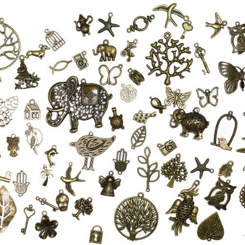 About 100 pcs Mixed antique Bronze assorted mix tibetan charms, pendants, elephants, birds, hearts, Tree of life, Keys, ocean life DIYJewelryDepot http://www.amazon.com/dp/B00KRO83C6/ref=cm_sw_r_pi_dp_WDuCub1NQ6RX2