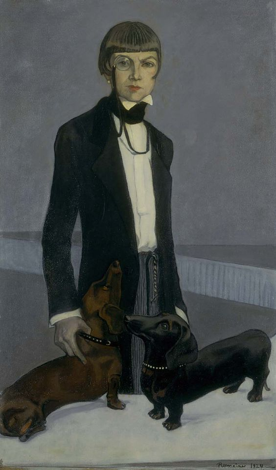 "Romaine Brooks, Una, Lady Troubridge, 1924 -- The tailored man's morning suit conceals her feminine figure, and her pose suggests absolute control; note how Troubridge grasps one of the dog's collars. Brooks intended the portrait to be a caricature of her friend as a headstrong, demanding woman, and noted in a letter that this was ""a sign of the age which may amuse future feminists."""