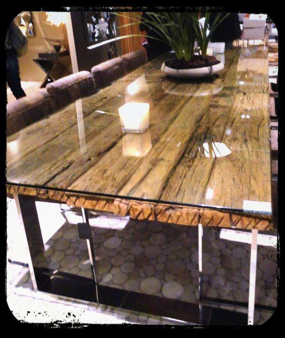 Mesa rectangular cristal m s madera deco pinterest for Mesa cristal y madera