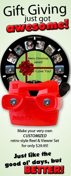 Awesome retro-style Reel and Viewer with YOUR photos! A perfect custom gift for someone who has everything or as a unique flashback keepsake for yourself! The ideas are endless! DIY on the RetroViewer website!