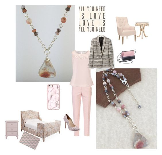 """""""Think Pink with Pink Plume Agate Pendant Necklace"""" by rock2gems on Polyvore featuring Armani Jeans, Jacques Vert, Casetify, Sugarboo Designs, pendantnecklace, statementnecklace, pinkandgray, pinkopal and pnkplumeagate"""
