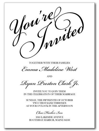 Wedding Invitations, You're Invited Invitation | Invitations ...
