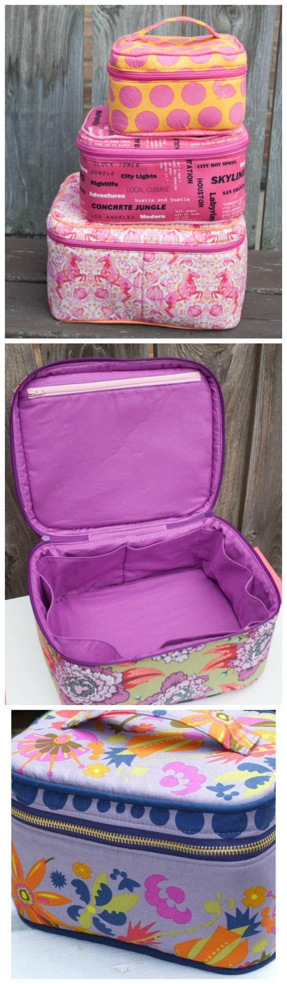 Love these sewing patterns. These train cases come in 3 different sizes...