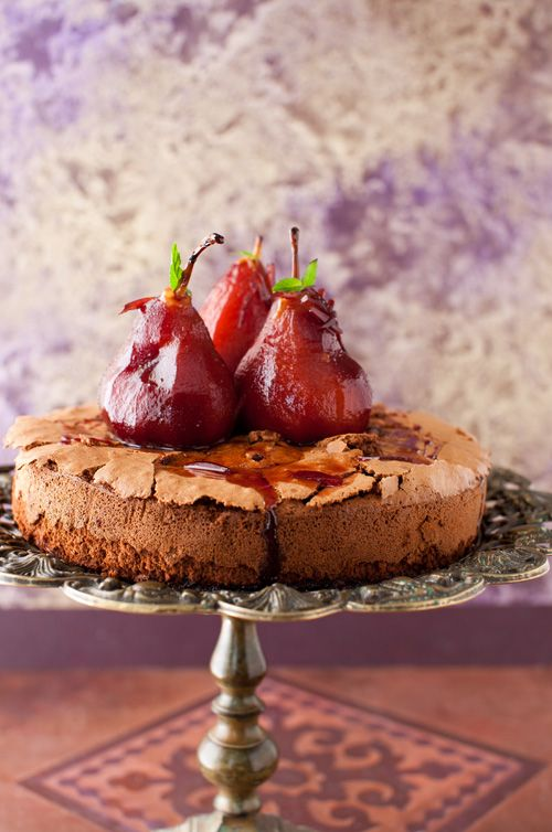 Chocolate Cake with Poached Pears in Red Wine | Cooking Melangery