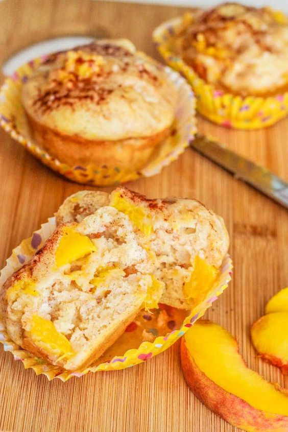 Peach Pie Muffins - tasty, the glaze makes it. I used 1/2 whole wheat flour, may have been too much. Would have been better with all white or less wheat