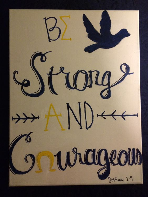 Sigma alpha omega canvas joshua 1:9 be strong and courageous - I can easily change this to Sigma Phi Lambda