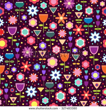 Seamless pattern with brightly colored geometric flowers. - stock vector