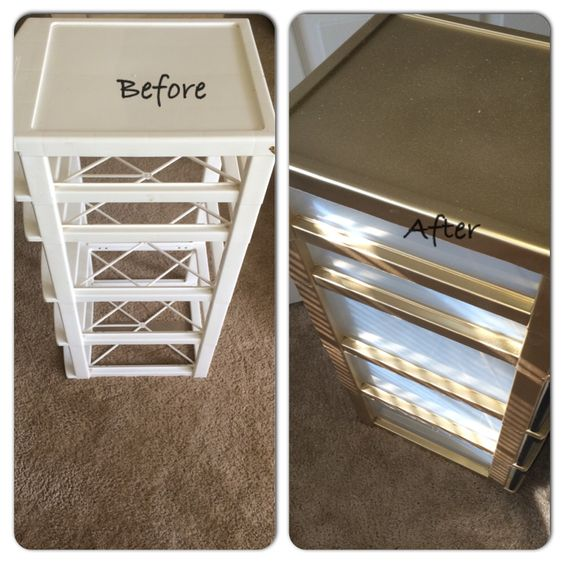 I just took an old plastic bin and wiped it down. Then I spray painted the outer parts first with a metallic/gold then got a spray paint gold glitter and put that over it. The front of the bins are painted in the chalkboard paint to help label my drawers! Very simple and took me maybe 30 minutes all together. Easy office decorations:
