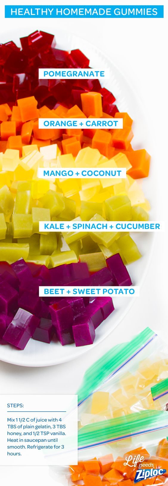These DIY fruit and veggie gummies are so much healthier than what you'll find in a store. Plus, you can make them in bulk for easy lunch or after-work snacks. Just mix 1 ½ cups of fruit or veggie juice with 4 tablespoons of plain gelatin in a saucepan. Whisk it smooth, then stir in 3 tablespoons of honey and ½ teaspoon of vanilla (you can lighten the color by adding a little bit of coconut milk). Chill in a Ziploc® container in the fridge for 2-3 hours, then cube!