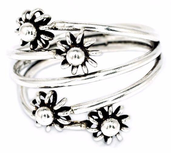 ฺBKGjewelry 6mm Four Flower Oxidized Ring Solid 925 Sterling Silver [SR0010] #BKGjewelry #Cocktail