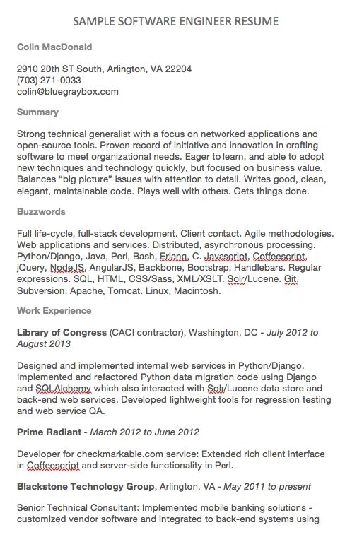 Software Engineer Resume Examples Colin MacDonald 2910 20th ST - software engineer resume samples