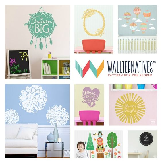 a girl and a glue gun decorated her walls with Wallteranatives wall decals stickers with frame and monogram