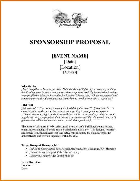 Sample Sport Event Sponsorship Proposal Template Free NGO - event proposal template