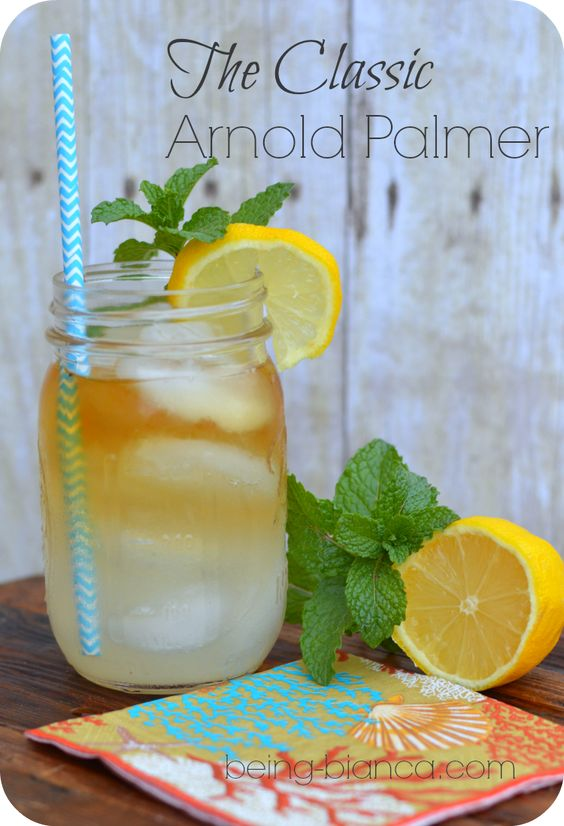 The Classic Arnold Palmer.  Non-alcoholic but can be kicked up for happy hour!  A great be that's summer in a glass!