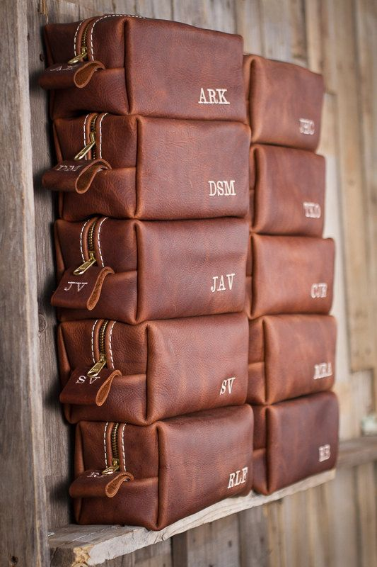 Leather kit bag with initials is sure to please any groomsman. By LifetimeLeatherco via etsy. #groomsmengifts