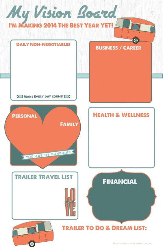 vision board templates free - orange vintage trailer visionboard buy yours here http