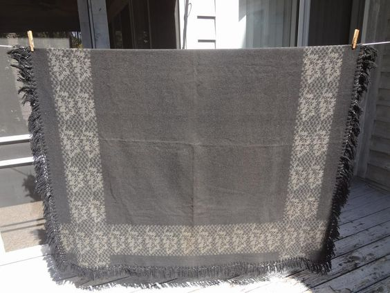 Antique Victorian Carriage Wool Blanket / throw Reversible