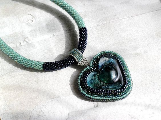 Green Bead Embroidered Glass Heart by HeriniasJewelryChest on Etsy, $75.00