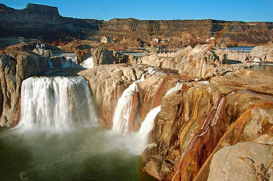 """Shoshone Falls, often referred to as the """"Niagara of the West"""", cascades 212 feet (64.7m) down over the 900 ft. (274m) wide canyon rim to the river below. Located near the city of Twin Falls, Idaho, it is one the most impressive views along the Snake River. 