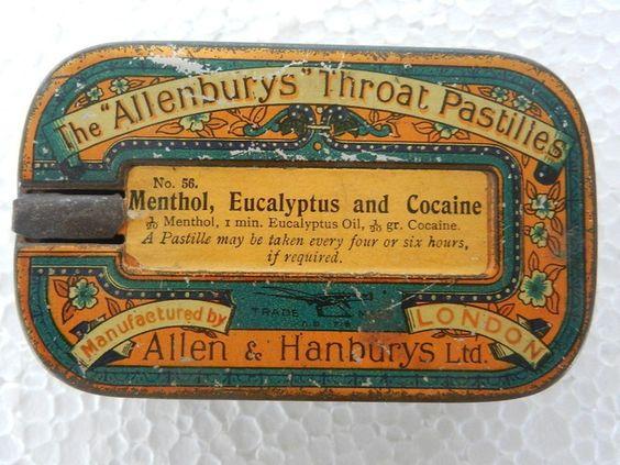 Menthol, Eucalyptus and Cocaine. Throat pastilles.
