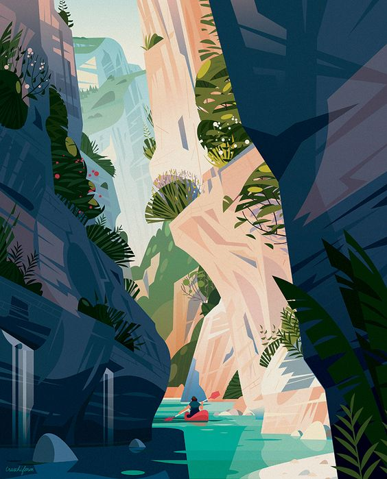 "Creation of an illustration about one of the most beautiful canyon in France : Les Gorges du Verdon, for the collective book ""Douce France"". October 2016"