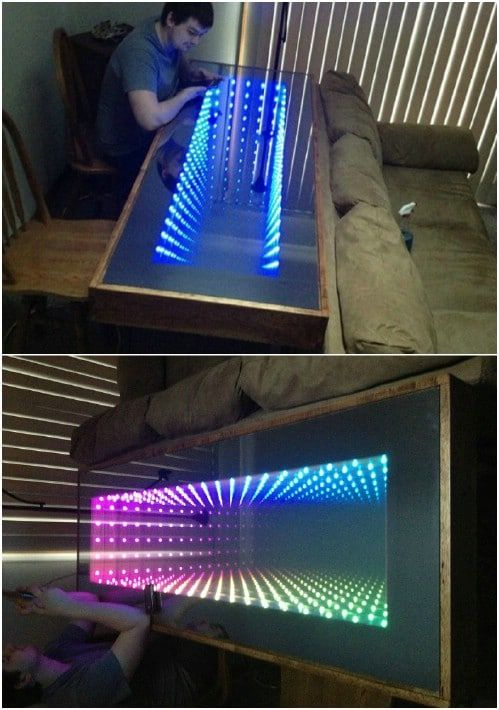 10 Gorgeous Diy Infinity Tables You Will Want To Build Right Away Infinity Table Infinity Lights Infinity Mirror