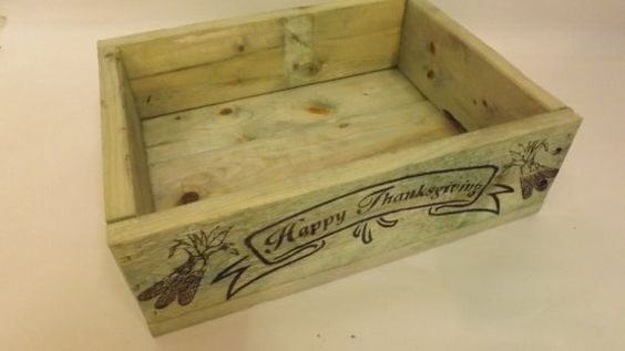 "Rustic Looking Green ""Happy Thanksgiving"" wood shipping crate.  Makes a great decoration in autumn and a place to store decorations the rest of the year.  $23.00 on my etsy shop"