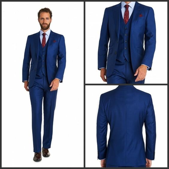 men suits | Custom 2015 Two Button Royal Blue Wedding Tuxedos