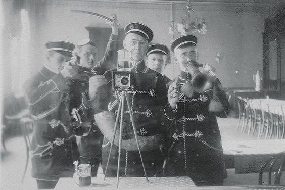 vintage everyday: Epic Moments in Selfie History – 11 Fabulous Vintage Selfies From Way Back When: German Fraternity Mirror Selfie, 2012