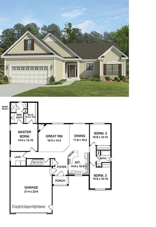 Ranch Style House Plan 3 Beds 2 Baths 1555 Sq Ft Plan 1010 147 Ranch Style House Plans House Plans American Houses