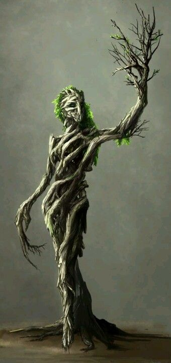 The creature was humanoid, but it's body seemed to be made of woven wood. It's eyes were two glowing holes, and it's hair was  a thick, elegant carpet of moss. It's hands were branches, leaves included, and it's feet were roots that twisted and dragged the thing along as smoothly as if it were walking.