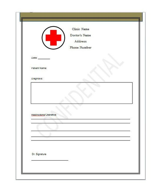 Clinic or Hospital Note, Excuse from work or School, Mental - doctor note pdf
