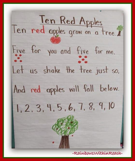 Apples Five Red Apples FLANNEL //FELT BOARD STORY Pieces and song sheet