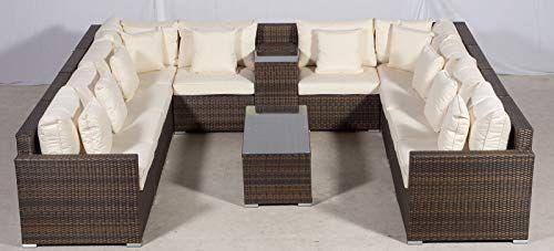 Giardino Havana 10 Seater Brown U Shaped Rattan Sofa Set Ice Drinks Cooler Arm Garden Sofa Set Garden Sofa Sofa Set