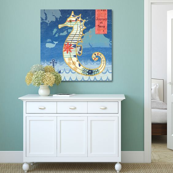 Jennifer Brinley 'Coastal Critters Seahorse' Decor Print Wall Art