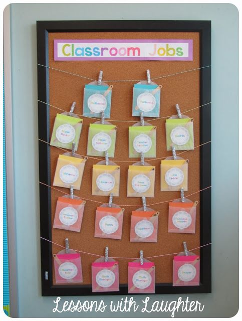 Classroom Jobs chart from Lessons with laughter - I'd like to do something like this with ribbon