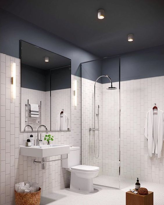 You May Think That A Dark Colored Ceiling Will Make The Space Look Smaller But This Is Not Actually Diy Bathroom Design Bathroom Design Bathroom Design Small