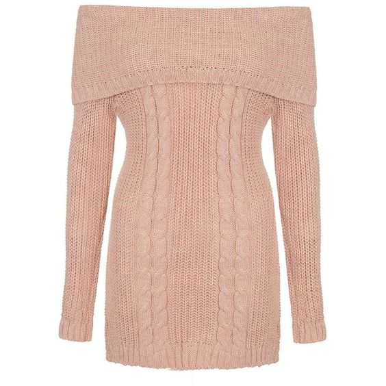 Dorothy Perkins **Quiz Pink Cable Knit Bardot Jumper ($55 ...