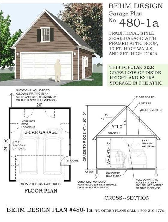 2 Car Steep Roof Garage Plan With Loft 1224 1 24 X 34 Garage Plans With Loft Garage Plan Garage Plans