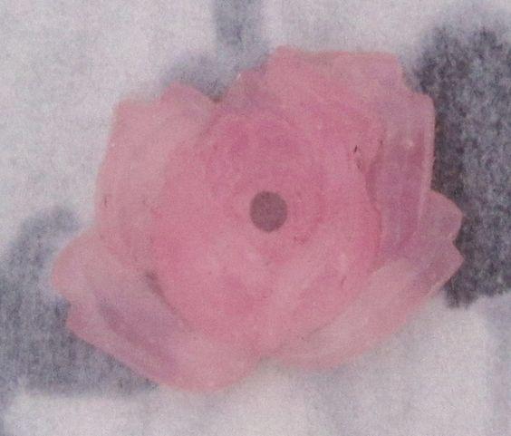 vintage pressed glass flower rose sew on cabochon - f2861