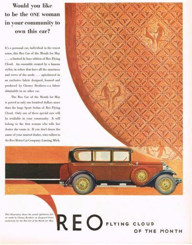 1929 BIG Color VINTAGE REO De Luxe FLYING CLOUD Car Auto Art Print AD