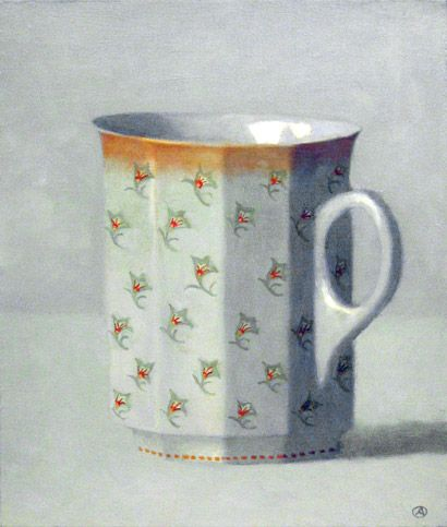 Olga Antonova, Tower of Blue and Gold Cups, Oil/Canvas, 30 x 15 inches